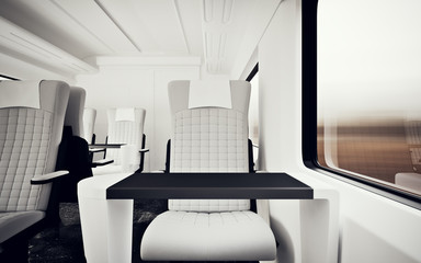 Interior Inside First Class Cabin Modern Speed Express Train Nobody White  Leather Chair Window Search photos luxurious armchair