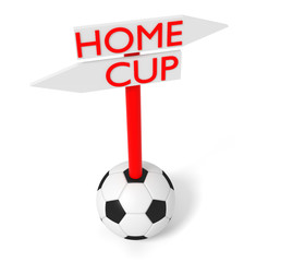 Home or Cup: guidepost with soccer ball, 3d illustration