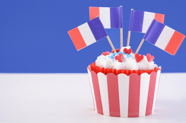 Happy Bastille Day cupcake.