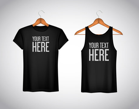 Men black tank top and t-shirt. Realistic mockup whit brand text