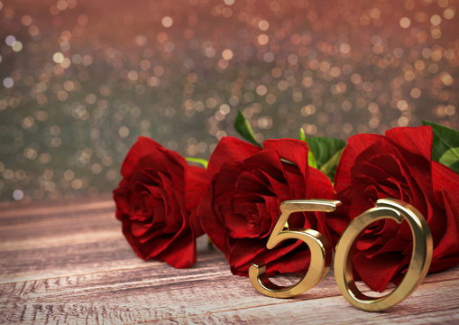 birthday concept with red roses on wooden desk. fiftieth birthday. 50th. 3D render