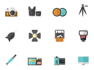 Photography icons in flat color style.