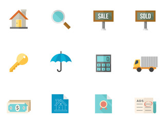 Real estate icon series in flat color style.