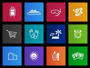Travel icon set in Metro style.