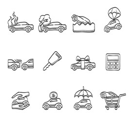 Car insurance icons in sketch.