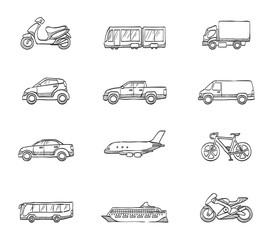 Transportation icon series in sketch.