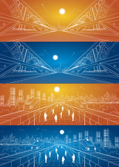 Two transportation panoramic, train rides on the bridge, night city, vector infrastructure set, people walk on the square, two train move over bridges, vector design art