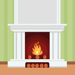 Fireplace in flat design style