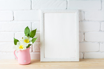 White frame mockup with rustic pink flower pot