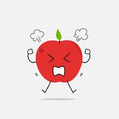 angry apple simple clean cartoon illustration