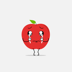 crying apple simple clean cartoon illustration