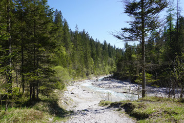 Beautiful clear river at the valley of Wimbachgries
