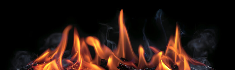 Fire Flames Banner With Black Background