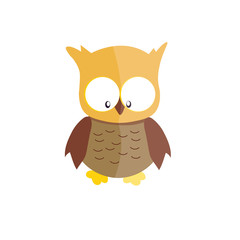 Vector brown owl isolated on a white background.