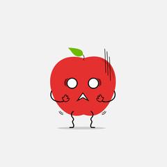 trembling apple simple clean cartoon illustration