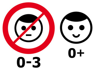 Prohibition and consent signs for children from zero to three years