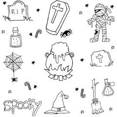 Halloween doodle set flat black and white
