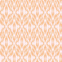 Seamless pattern Tribal Art Ikat Ogee in traditional classic beige and white colors. Boho style.