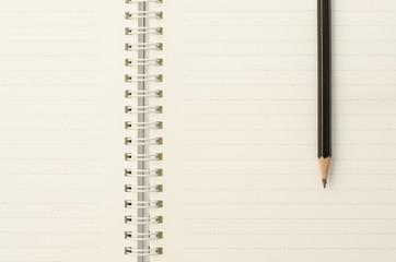 Pencil on dashline notebook