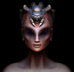 Hybrid alien woman queen with embedded parasite crown front view