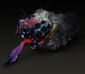Parasitic grub worm alien with stinging tongue side view dark sa