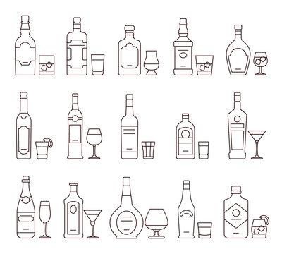 Alcohol drink beverages outline icons, bottles and glasses thin line symbols. Beverage alcohol bottle and glass, illustration set of beverage