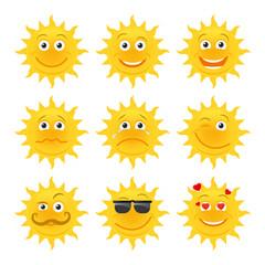 Sun emoticons. Vector smiling sun cartoon collection