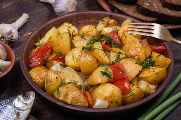 Ragout of vegetables in plate