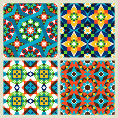Moroccan mosaic vector or modern arabic seamless patterns