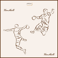 Set of a vector Illustration shows a player throws a ball in a jump. Handball