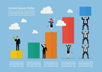Infograpic of business teamwork with bar chart
