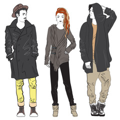 Fashion man and woman sketch illustration. Fashionable young street guy and girl.
