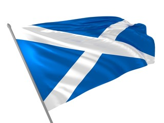 Flag of Scotland waving in the wind / Flags of UK