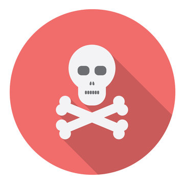 Skull And Bones Flat Style Design Icon