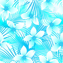 Tropical frangipani hibiscus with palms seamless pattern