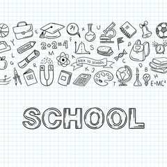 School hand drawn icons. Education vector objects. Back to school concept