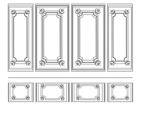 Decorative Ornamented frames for walls or backgrounds. Interior design decoration panels. Classic Baroque Vintage style. Vector frame..