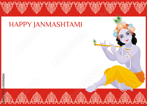 Happy Janmashtami Frame Beautiful Greeting Card With Little