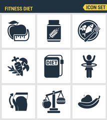 Icons set premium quality of fitness diet promises more effective weight loss. Modern pictogram collection flat design style symbol collection. Isolated white background.