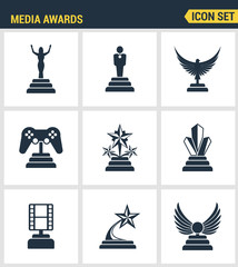 Icons set premium quality of media awards champion prize business reward elements. Modern pictogram collection flat design style symbol collection. Isolated white background.