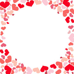 Hearts frame border illustration; romantic design.