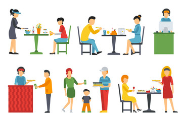 People in a flat interior. Pizza icons set. Cashier, Deliveryman, Customers, Bistro, Waiters, Delivery. Pizzeria conceptual web vector illustration.
