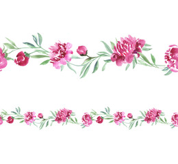 elegant border for card with hand drawn floral image. pink peony