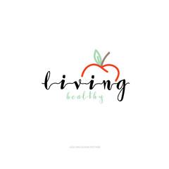 living healthy logo vector logo template. hand drawing logo.