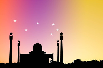 silhouette of masjid with star