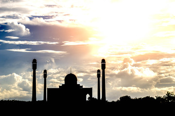 silhouette of masjid  on sky background