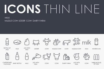 Milk Thin Line Icons