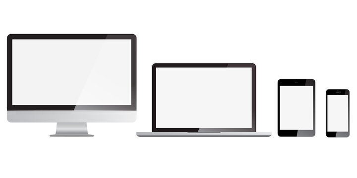 Set of monitor, computer, laptop, phone, tablet isolated on a solid white background. Screen size concept for responsive or adaptive web design template. Realistic screen with shining effect.
