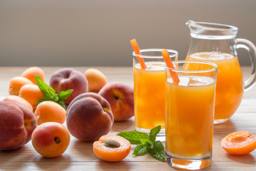 Apricot and peach juice with ice.