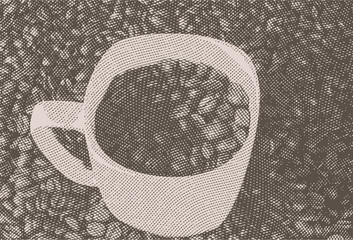 Vintage coffee engraving vector illustration on clean background.